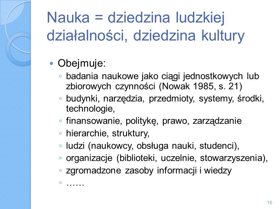 Nauka = dziedzina ludzkiej działalności, dziedzina kultury