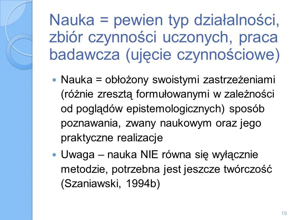 Nauka = pewien typ działalności, zbiór czynności uczonych, praca badawcza (ujęcie czynnościowe)
