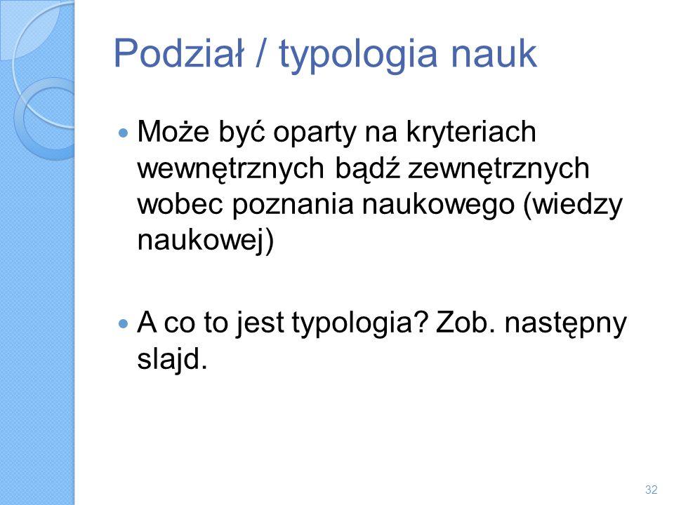 Podział / typologia nauk