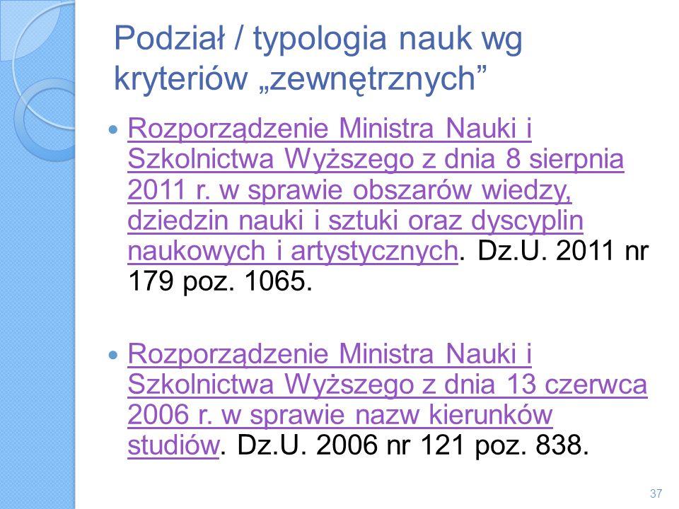 """Podział / typologia nauk wg kryteriów """"zewnętrznych"""