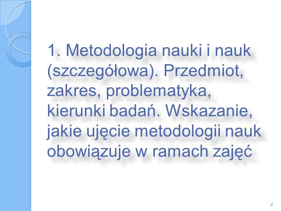 1. Metodologia nauki i nauk (szczegółowa)
