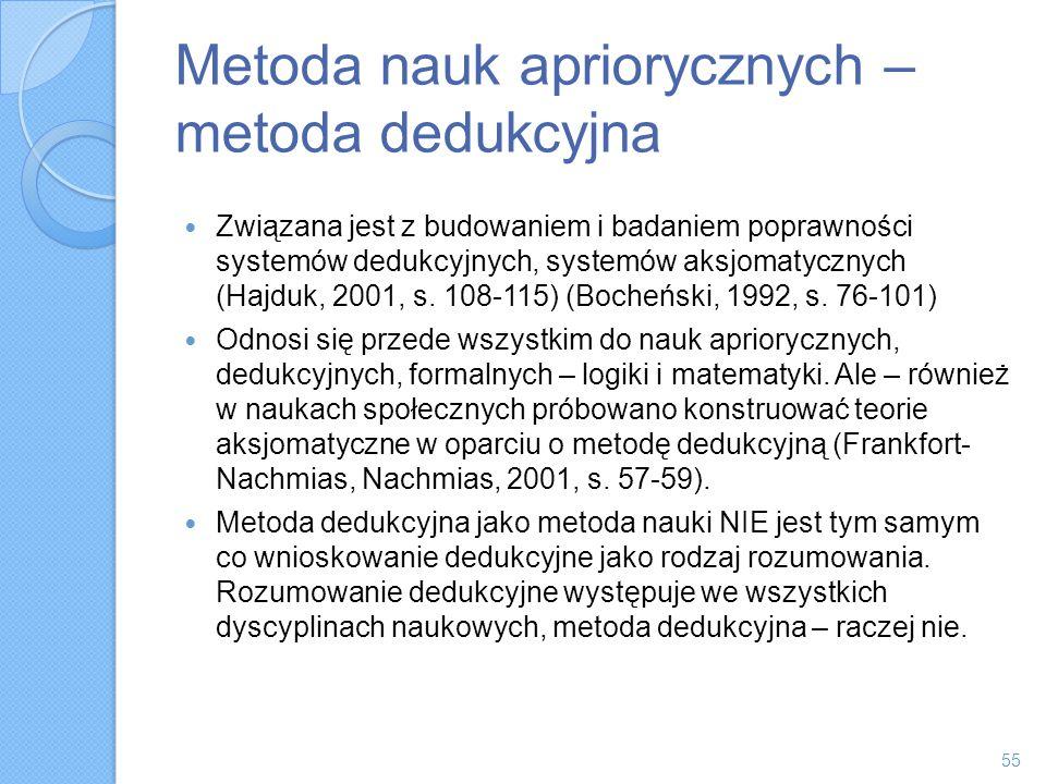 Metoda nauk apriorycznych – metoda dedukcyjna