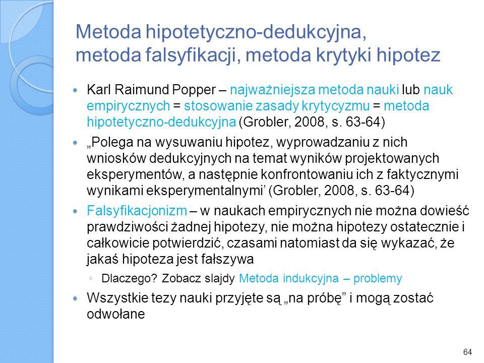 Metoda hipotetyczno-dedukcyjna, metoda falsyfikacji, metoda krytyki hipotez