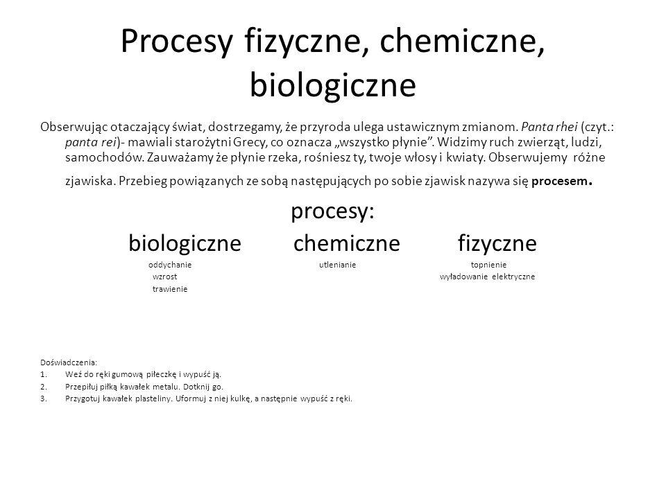 Procesy fizyczne, chemiczne, biologiczne