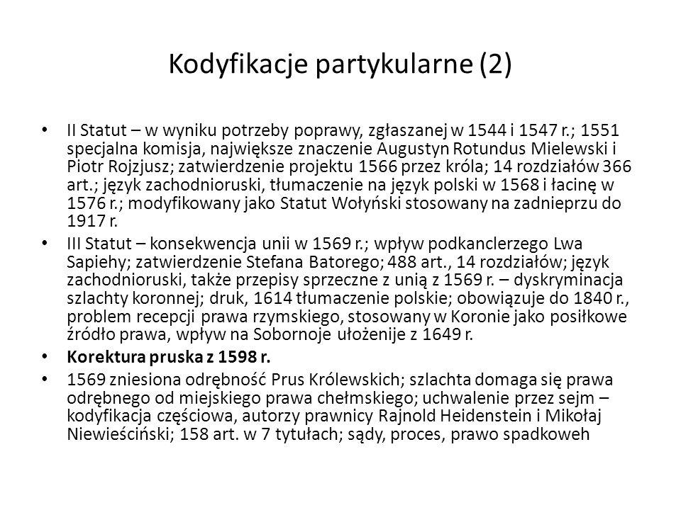 Kodyfikacje partykularne (2)