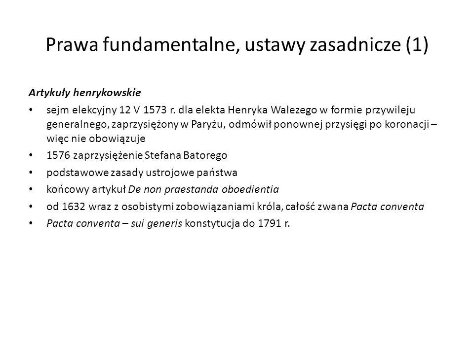Prawa fundamentalne, ustawy zasadnicze (1)