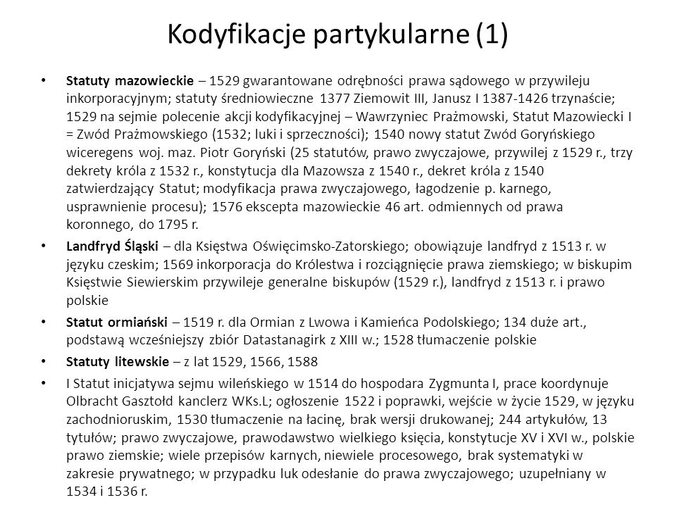 Kodyfikacje partykularne (1)