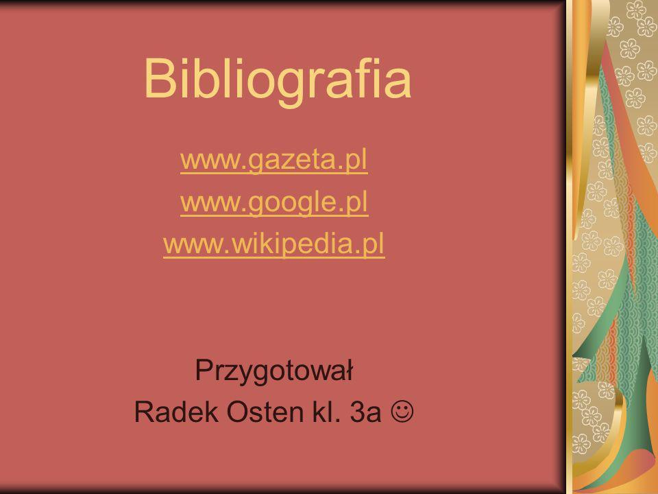 Bibliografia www.gazeta.pl www.google.pl www.wikipedia.pl Przygotował