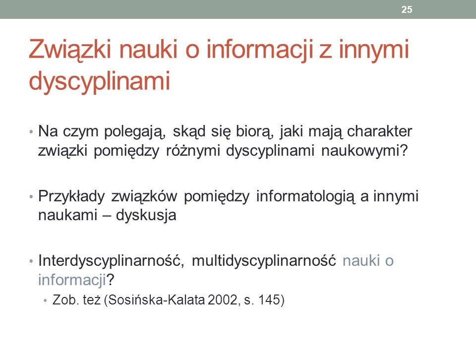 Związki nauki o informacji z innymi dyscyplinami