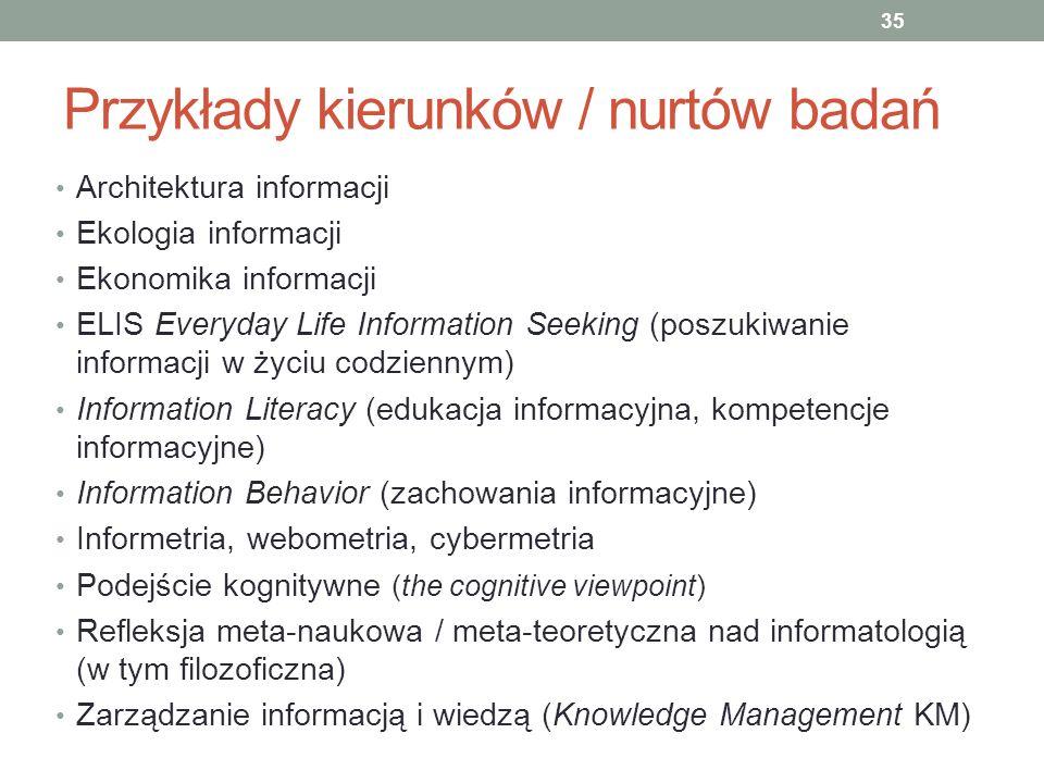 Przykłady kierunków / nurtów badań