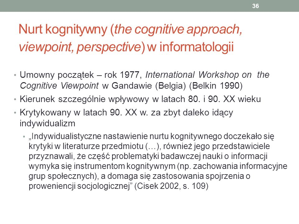 Nurt kognitywny (the cognitive approach, viewpoint, perspective) w informatologii