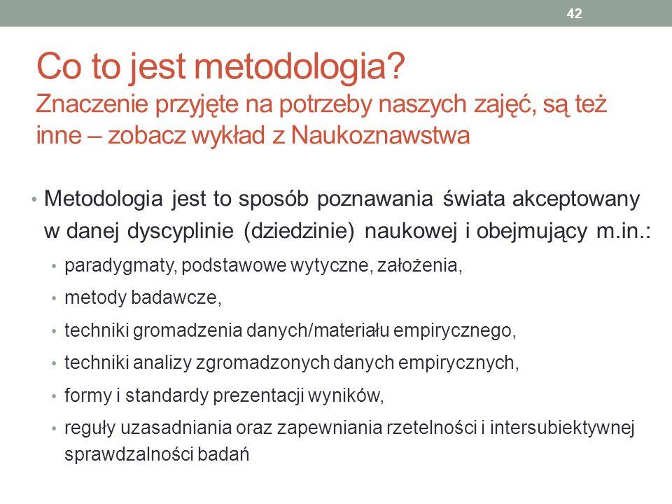 Co to jest metodologia Znaczenie przyjęte na potrzeby naszych zajęć, są też inne – zobacz wykład z Naukoznawstwa