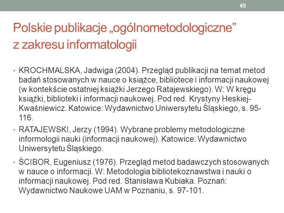 """Polskie publikacje """"ogólnometodologiczne z zakresu informatologii"""