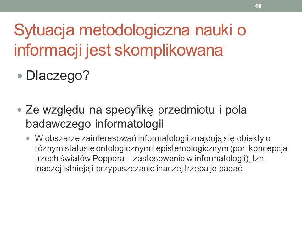 Sytuacja metodologiczna nauki o informacji jest skomplikowana