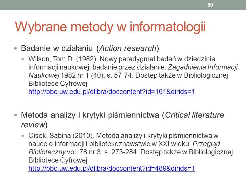 Wybrane metody w informatologii