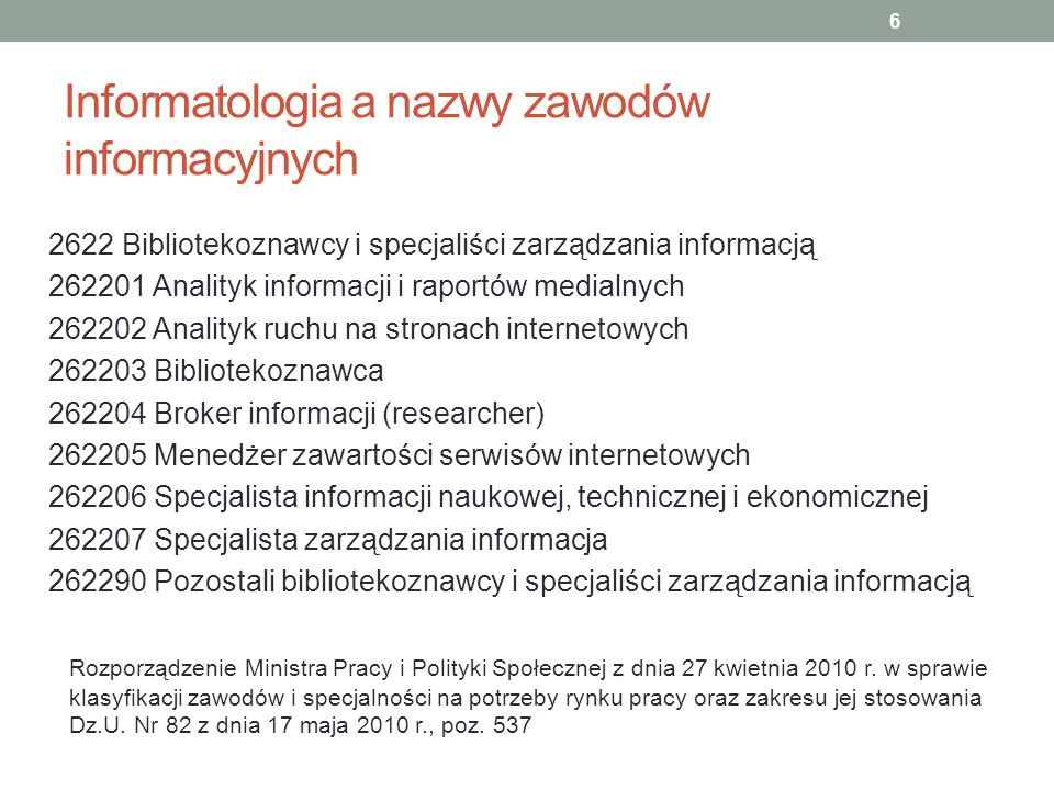 Informatologia a nazwy zawodów informacyjnych