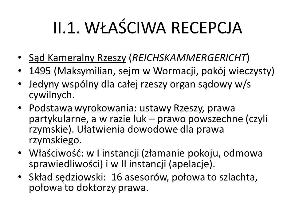 II.1. WŁAŚCIWA RECEPCJA Sąd Kameralny Rzeszy (REICHSKAMMERGERICHT)