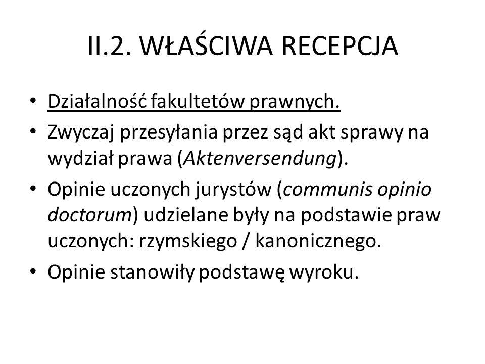 II.2. WŁAŚCIWA RECEPCJA Działalność fakultetów prawnych.