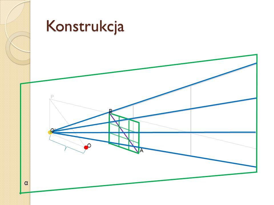 Konstrukcja B O' O A α