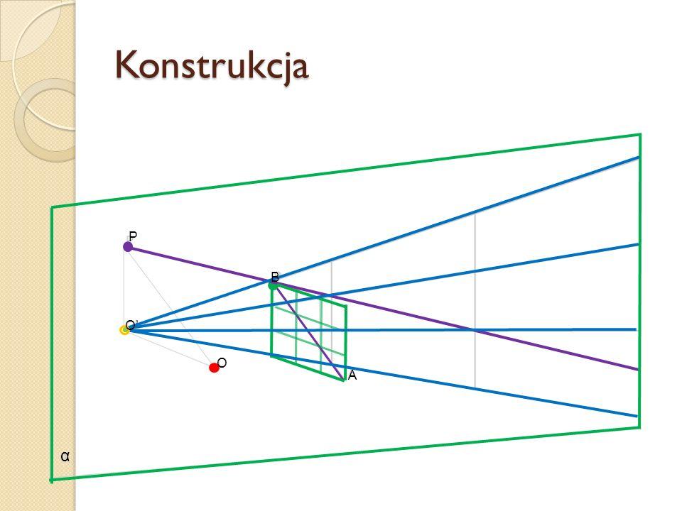 Konstrukcja P B O' O A α