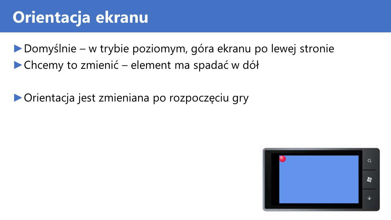 Orientacja ekranu Domyślnie – w trybie poziomym, góra ekranu po lewej stronie. Chcemy to zmienić – element ma spadać w dół.