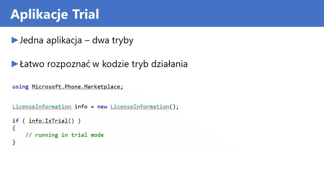 Aplikacje Trial Jedna aplikacja – dwa tryby