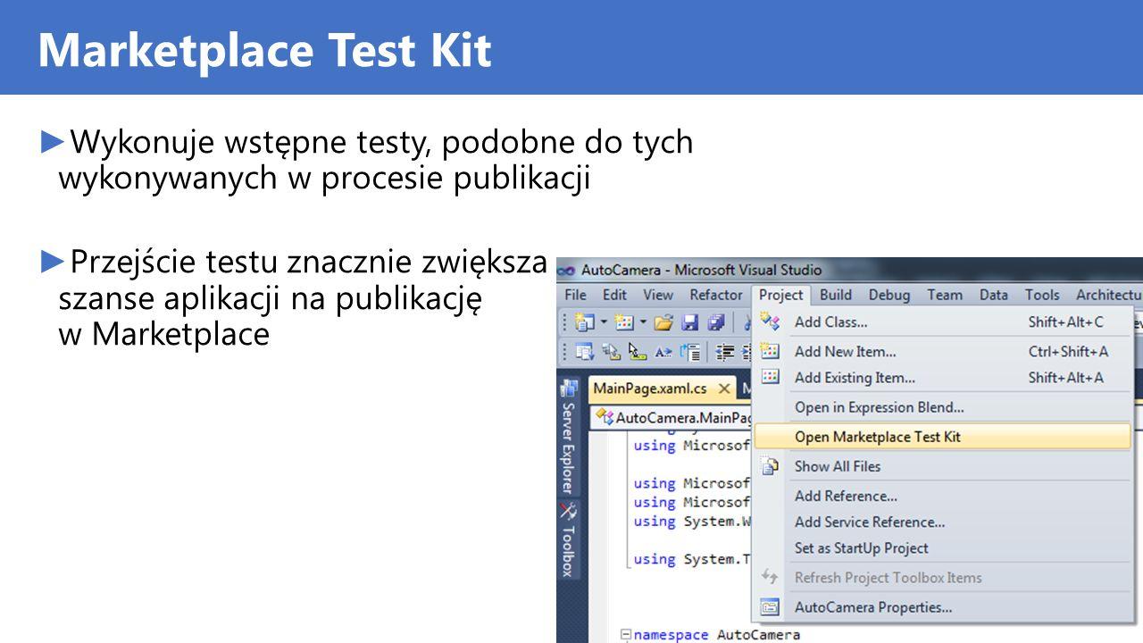 Marketplace Test Kit Wykonuje wstępne testy, podobne do tych wykonywanych w procesie publikacji.
