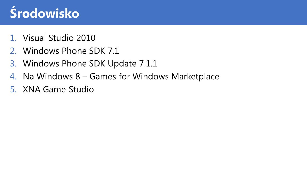 Środowisko Visual Studio 2010 Windows Phone SDK 7.1