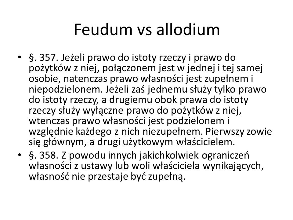 Feudum vs allodium