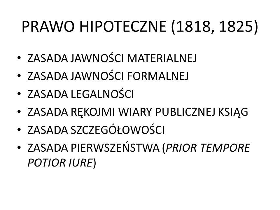PRAWO HIPOTECZNE (1818, 1825) ZASADA JAWNOŚCI MATERIALNEJ