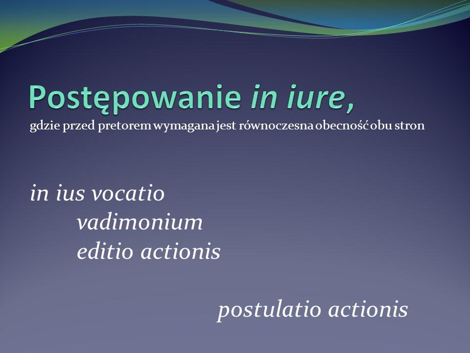 Postępowanie in iure, in ius vocatio vadimonium editio actionis