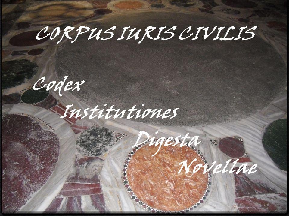 CORPUS IURIS CIVILIS Codex Institutiones Digesta Novellae
