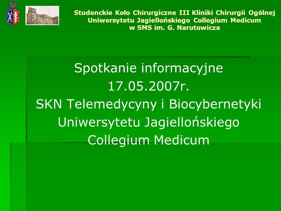 Spotkanie informacyjne 17.05.2007r. SKN Telemedycyny i Biocybernetyki