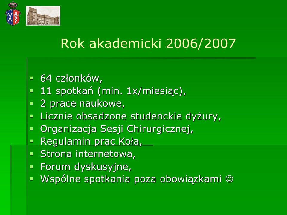 Rok akademicki 2006/2007 64 członków, 11 spotkań (min. 1x/miesiąc),
