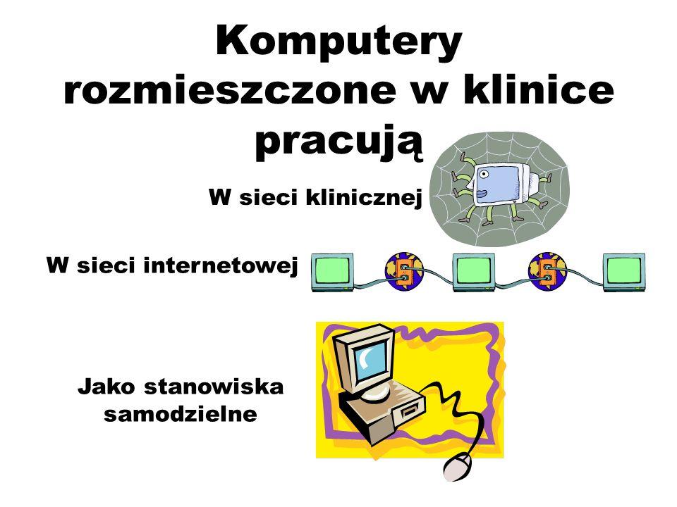 Komputery rozmieszczone w klinice pracują