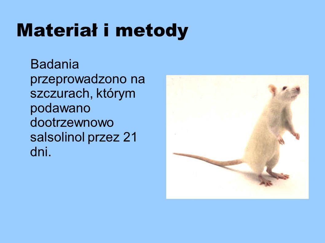 Materiał i metody Badania przeprowadzono na szczurach, którym podawano dootrzewnowo salsolinol przez 21 dni.