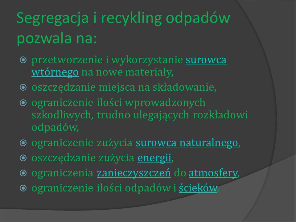 Segregacja i recykling odpadów pozwala na: