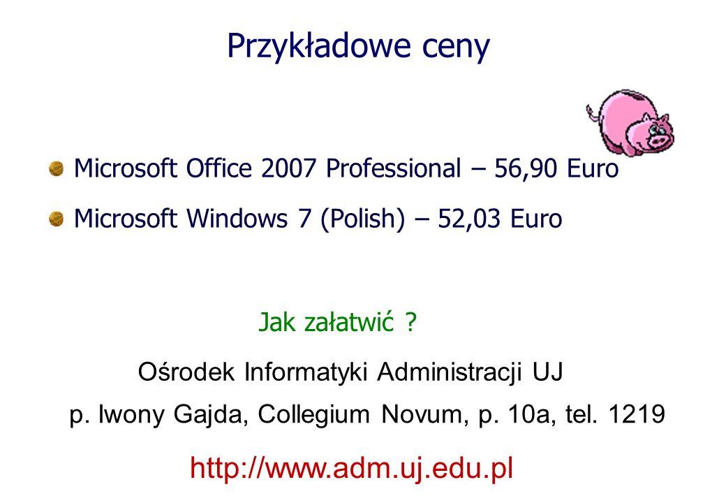 Przykładowe ceny http://www.adm.uj.edu.pl