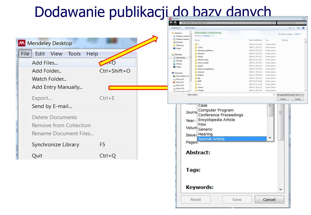 Dodawanie publikacji do bazy danych