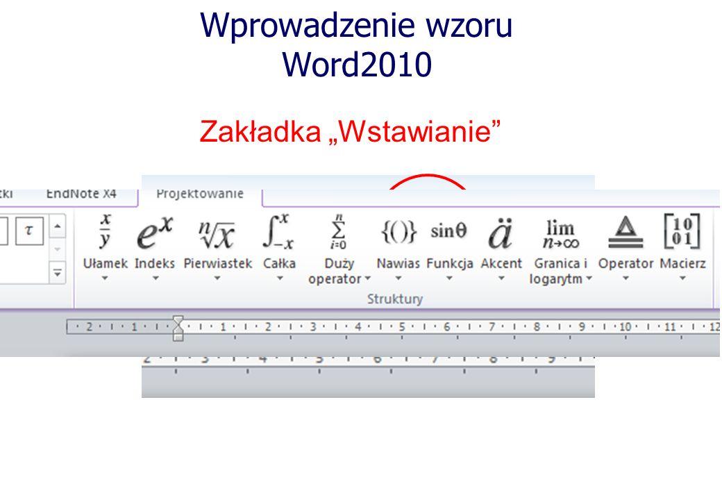 Wprowadzenie wzoru Word2010