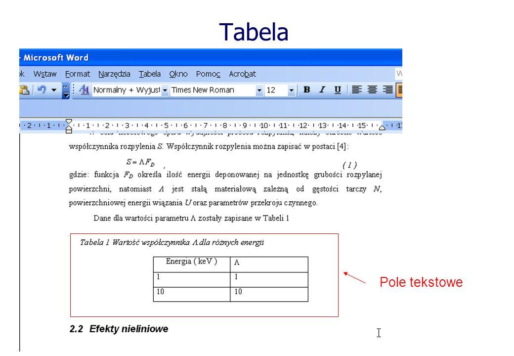 Tabela Pole tekstowe
