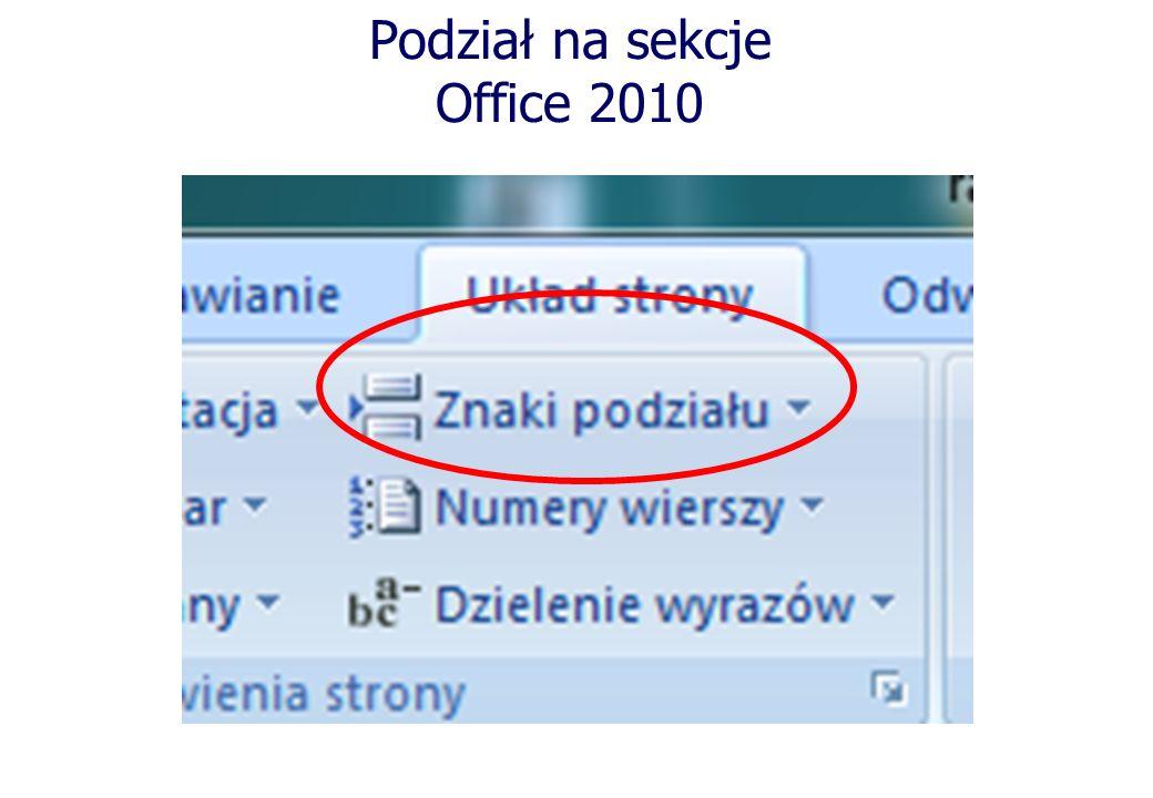 Podział na sekcje Office 2010