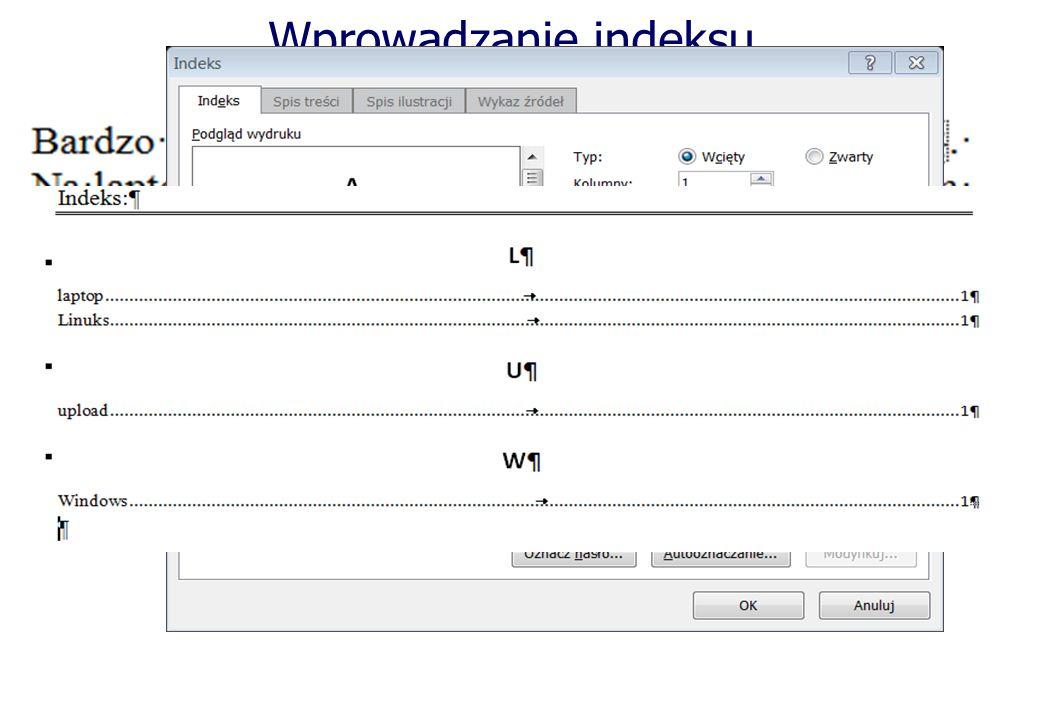Wprowadzanie indeksu