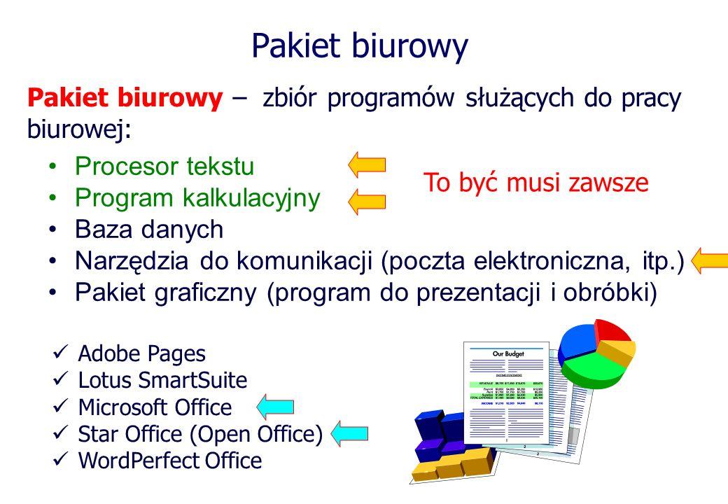 Pakiet biurowy Pakiet biurowy – zbiór programów służących do pracy biurowej: Procesor tekstu. Program kalkulacyjny.