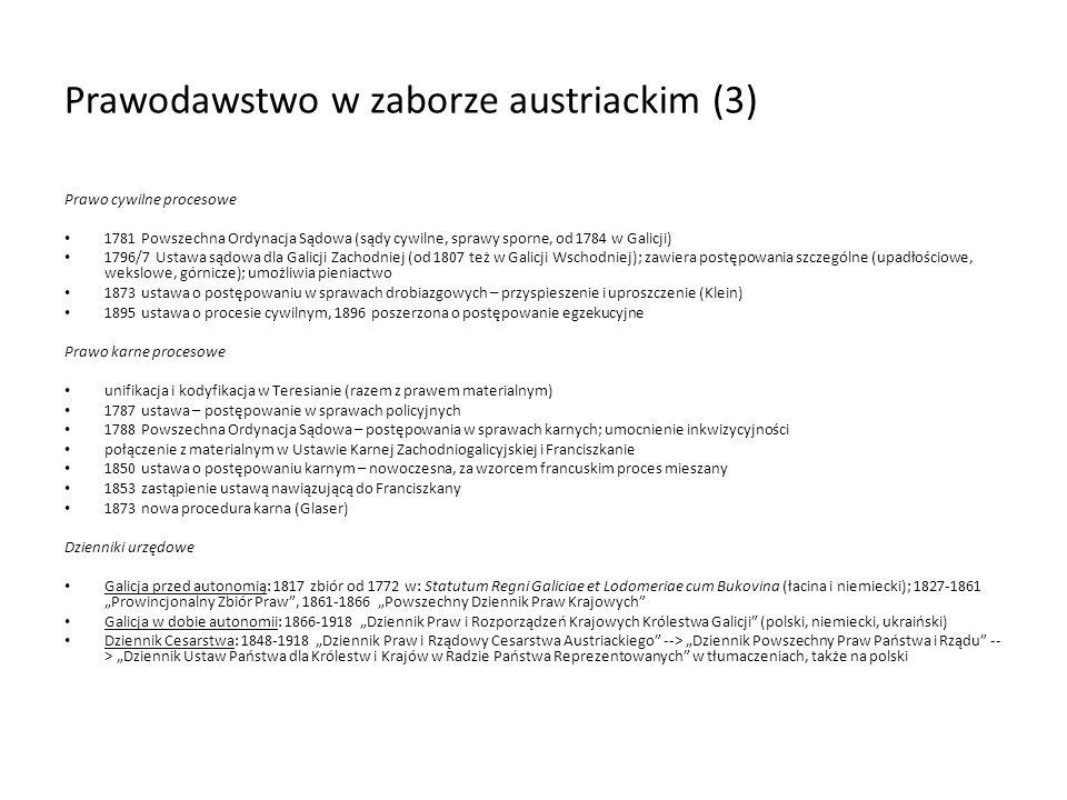 Prawodawstwo w zaborze austriackim (3)
