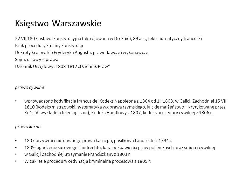 Księstwo Warszawskie22 VII 1807 ustawa konstytucyjna (oktrojowana w Dreźnie), 89 art., tekst autentyczny francuski.