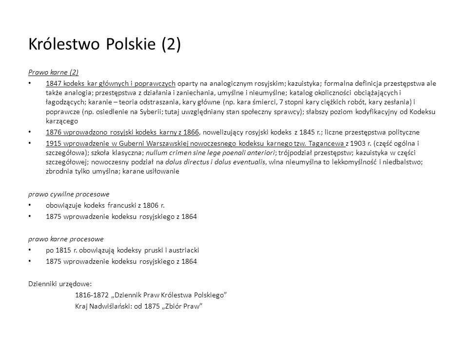 Królestwo Polskie (2) Prawo karne (2)