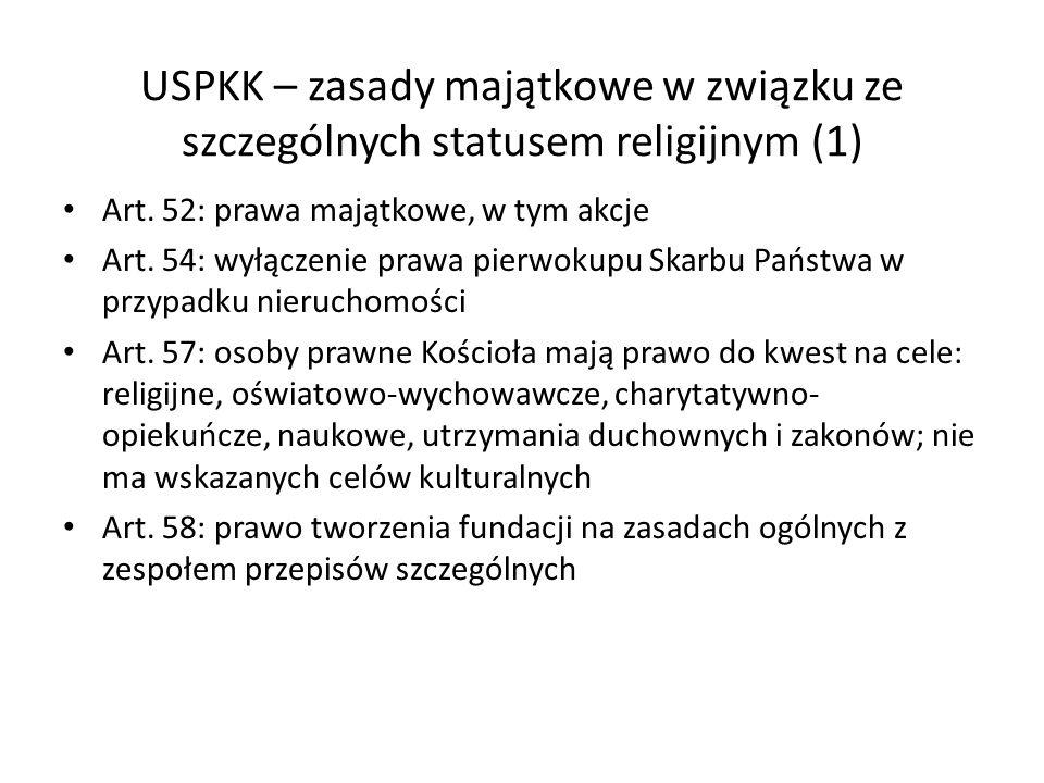 USPKK – zasady majątkowe w związku ze szczególnych statusem religijnym (1)