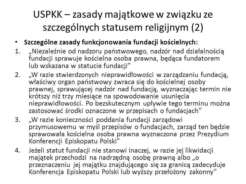 USPKK – zasady majątkowe w związku ze szczególnych statusem religijnym (2)