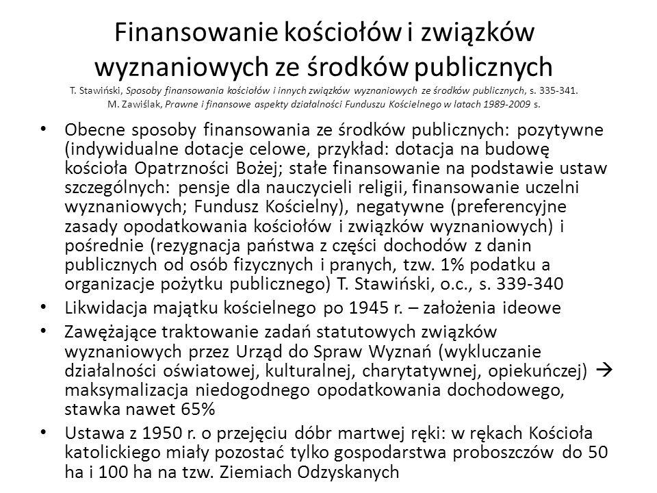 Finansowanie kościołów i związków wyznaniowych ze środków publicznych T. Stawiński, Sposoby finansowania kościołów i innych związków wyznaniowych ze środków publicznych, s. 335-341. M. Zawiślak, Prawne i finansowe aspekty działalności Funduszu Kościelnego w latach 1989-2009 s.